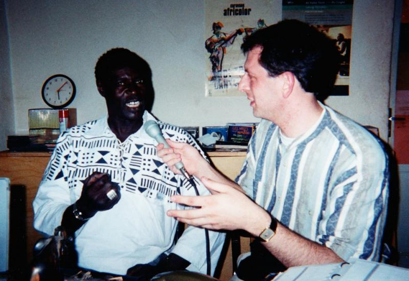 Interviewing Ali Farka Toure, at his studio in Mali